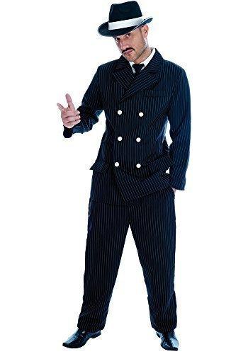Herren schwarze Nadelstreifen 1920s Jahre Gangster Anzug Bugsy Malone Kostüm Kleid Outfit M-XL - Schwarz/weiß, X-Large (Schwarze Und Weiße Nadelstreifen-anzug)