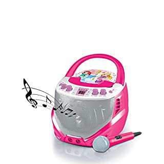 Lexibook Disney Princess Rapunzel Karaoke CD+G Player with docking station, programmable memory, microphone included, Pink/White, K7000DP