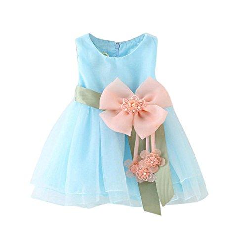 Kleid Mädchen (0-2 Jahre alt) Kolylong® 1PC Kleinkind Baby Mädchen ärmellos blume gürtel kleid Layered Tulle Tutu Kleid Kleidung Party Kleid Mädchen Sommerkleidung (70CM (6-12 Monate), (Kleider Jahre 11 Alt)
