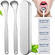 Maexus Stainless Steel Tongue Scraper Cleaner - Fresh Breath Tongue Scrapers Medical Grade Metal Tongue Scraping Cleaner
