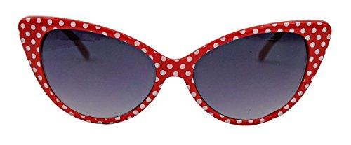 50er 60er Jahre Damen Retro Sonnenbrille Cat Eye Katzenaugen Rockabilly Modell FARBWAHL KE (Small Dots Red)