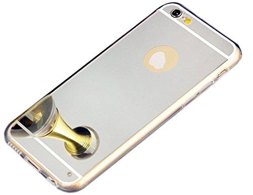 Paillette Coque pour iPhone 7 Plus/iPhone 8 Plus,iPhone 7 Plus/8 Plus Coque en Silicone Miroir Étui Housse,iPhone 8 Plus Souple Silicone Coque Etui pour Femme Fille, Ukayfe Etui de Protection Cas en c Miroir-Argent