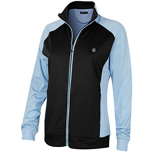 Island Green Women's Full Zip Warm Layer, Black/Duck Egg Blue, Size 12
