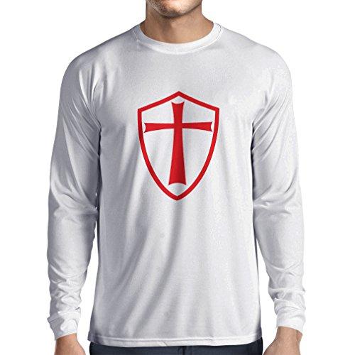 T-Shirt mit Langen Ärmeln Ritter Templer - Die Templer Schild Christian Ritter Ordnung (Large Weiß Rote) (Templer Kleidung)