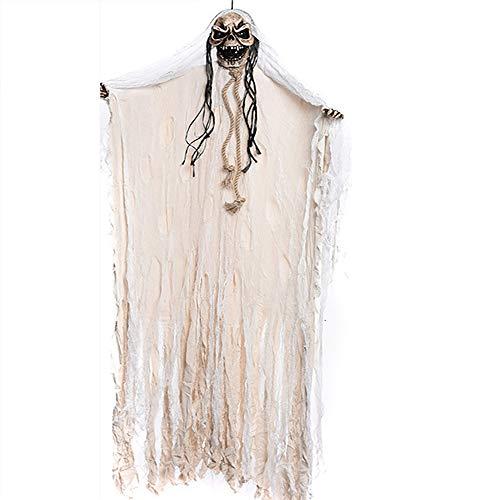 Shihsiboss Halloween Dekoration, 2M Voice Control Skeleton Hanging Ghost mit leuchtenden Augen Scary Sound, Halloween Requisiten für Haunted House Indoor Outdoor Halloween Party,White