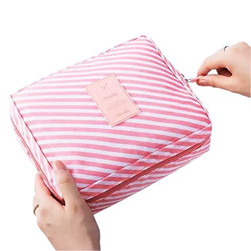 Multifunktional Kulturtaschen Kosmetiktasche Waschtasche für Reisen Wasserdicht Zum Faltbar mit Toilettentasche für Herren, Damen (Rosa Streifen)