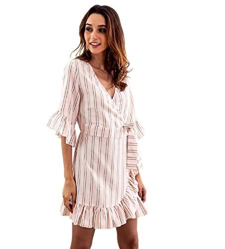 LYQPD V Neck Ruffle Stripe Half Sleeve Casual Party Women es Party Dress Woman Dress,pink,L - Pink Stripe Dress Shirt