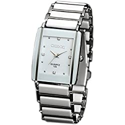 ufengke® retro imitation square dial watch, popular rhinestone watch for men- white