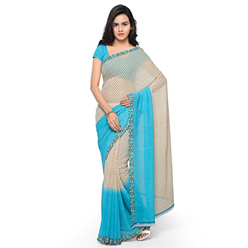 Kashvi Sarees Faux Georgette BLue & Multi Color Printed Saree With Blouse Piece ( 1194_2 )  available at amazon for Rs.199