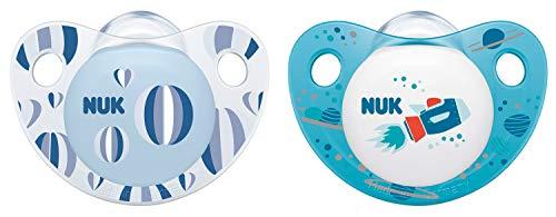 NUK Trendline Silikon-Schnuller, kiefergerechte Form, 0-6 Monate, 2 Stück, blau