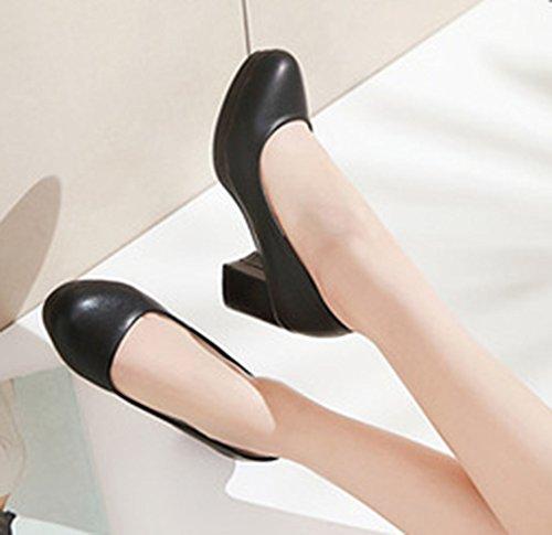 Aisun Femme Simple Bout Rond à Enfiler Escarpins Noir