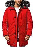 OZONEE Herren Winterjacke Parka Jacke Kapuzenjacke Wärmejacke Wintermantel Coat Wärmemantel Warm Modern Täglichen 777/341K ROT M