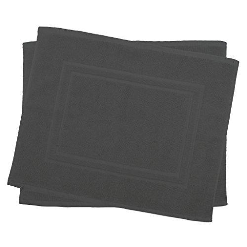 Julie Julsen 2er Pack 50 x 40 cm Badvorleger in Premium Qualität 900 gm2 in aktuellen Farben und 4 Größen aus Baumwolle Badematte Badteppich Duschvorleger Design Doppel Rahmen Anthrazit