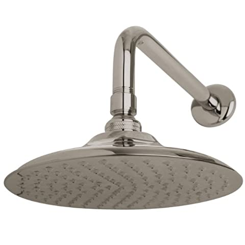 Kingston Brass K136A8CK Victorian 8-inch Diameter Brass Showerhead with 12-inch Shower Arm, Satin Nickel by Kingston Brass