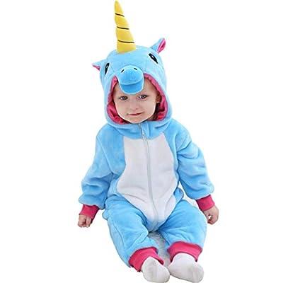 Bebé Capucha Mameluco Mono Franela Unicornio Pelele Trajes Infantil Otoño Pijama Niños Niñas Jumpsuit Ropa
