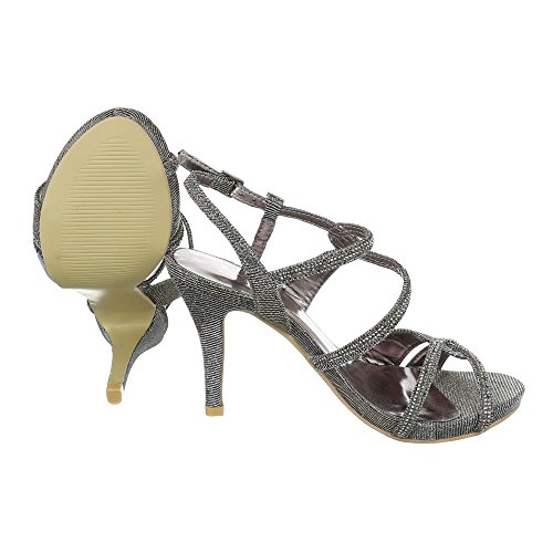 Ital-Design High Heel Sandaletten Damenschuhe Pfennig-/Stilettoabsatz Heels Schnalle Sandalen Silber KV62-52R
