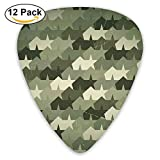 Grungy Worn Old Texture Military Force Stars Vintage Mosaic Form Guitar Picks 12/Pack Set