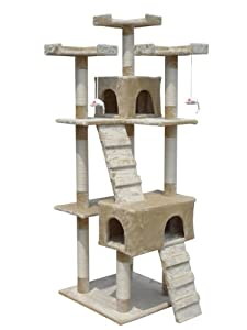 Deluxe Multi Level Cat Scratcher Cat Tree Activity Centre Scratching Post Climbing Sisal Toys 608 Beige Faux Fur 55cm x 55cm x 180cm Height from KMS