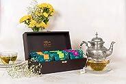 TGL Eternal Elegence Tea Gift Hampers with Elegant Wooden Tea Chest 30 Tea Bags Gifts | Rose Glow Black Tea, D