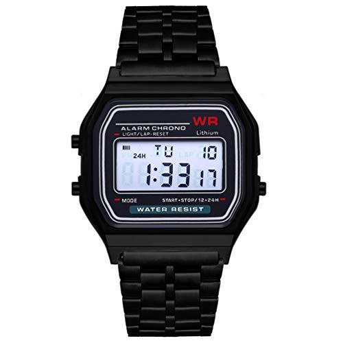 (Mode Vintage LED Digitaluhr Edelstahlband Alarm Armbanduhr Kleid Business Armbanduhr für Männer Frauen)