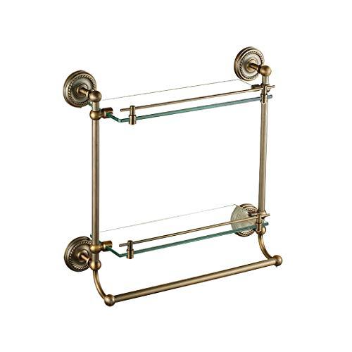 Preisvergleich Produktbild Vollkupfer Badezimmer-Rack Wand Doppelschicht mit Pole Badezimmer Glas Make-up Regal TAO LU Shop
