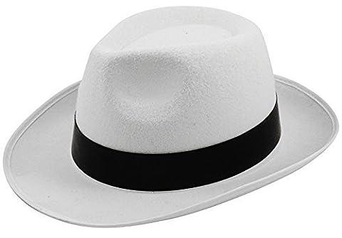 Costumes Hommes Blanc Gangster - Chapeaux de Gangster Al Capone Trilby Mob