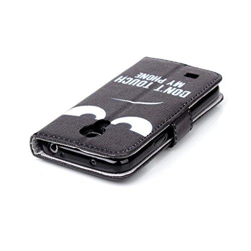 Forepin®Multi-function Wallet Case Kunstlederhülle + Stylus Pen für Apple iPhone 4 /4G/ 4S-Cover Flip Tasche Card Slot PU Leder Handtasche mit Kartenfach und Ständerfunktion in Don't touch my Phone De Galaxy S4 mini