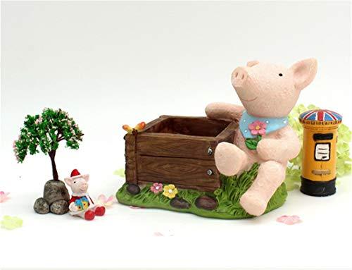 Shiny shop Löwe, Schwein Succulents Balkon kleine Blumentöpfe personalisierte Kunstgarten Pflanzen Topfblumen und Blumen Wunderschönen (Style : Pig) -
