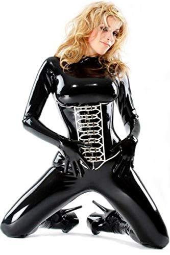 Amazing glänzend hochwertigem PVC Catsuit Catwoman Sexy Korsett Overall Fetisch Kostüm Gr. UK 10, Schwarz - (Catwoman Kostüm Kostüme Uk)