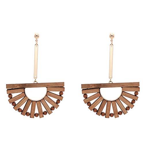 Z&HA Bambus Ohrringe Für Frauen, Halbkreisförmige Hohlen Sektor Ohrringe Anweisung Lange Abschnitt Tropfen Baumelt Schmuck