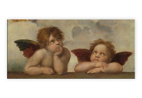 Bild auf Leinwand – Raffael – Zwei Engel – 100×50 cm – fertig bespannt auf massivem Holzrahmen