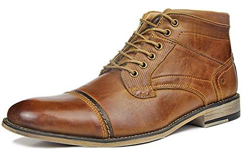SimpleC Herren Modern Kordell Cap-Toe Seitenreiß 7-Eye Combat Oxfords Stiefel Braun-18018 41.5