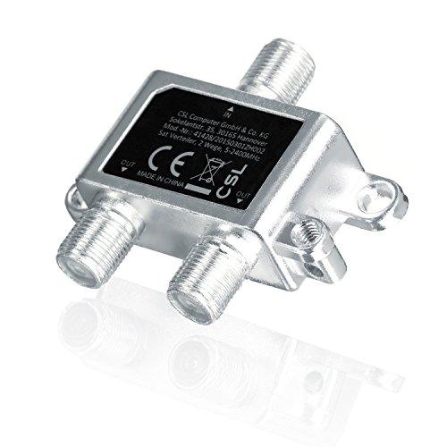CSL – SAT Verteiler Voll geschirmt (2-Wege), 5-2400 MHz / digital-tauglich - - SAT splitter/distributor (2-way) - 2-fach Verteiler für Satelliten-Anlagen (SAT-TV / DVB-S2) + BK + UKW Hörfunk (Radio) - DC-Durchlass - 5-2400 MHz Frequenzbereich - Erdungsanschluss - Satelliten Verteiler