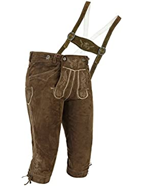 Zünftige Herren Trachten Lederhose | Wildbock Braun (Khaki) H-Stegträger | Gr. 42 - 66 | von Spieth & Wensky Modell...