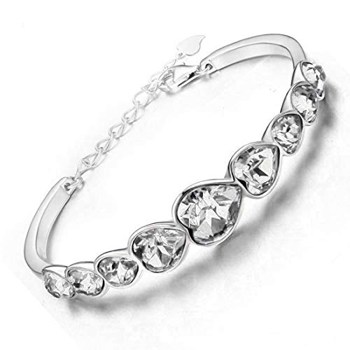 Best Valentine Gift:: Jewels Galaxy Exquisite Crystal Heart Design Silver Plated Elegant Bracelet for Women/Girls