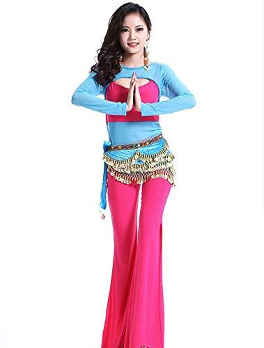 Indian Kostüm Princess - Yuyudou Indian Princess Theme Bauchtanz Kostüm Set, Damen Professional Dance Hosenanzug, Tanzabnutzung,Pink,L