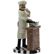 DRW Figura Cocinero Fabricado Resina Decorado con Bonitos Colores Medidas_16x13,5x22cm