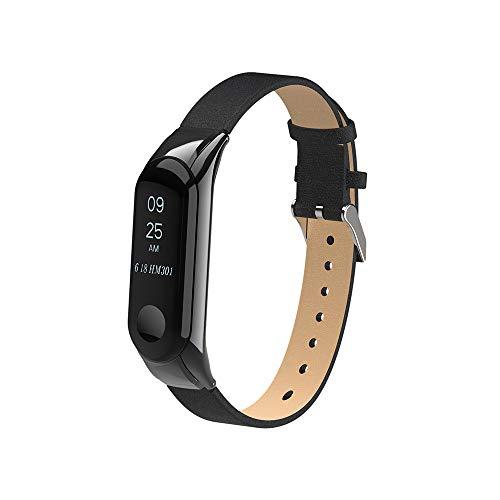 Hunpta@ Uhrenarmband für Xiaomi Mi Band 3 Ersatz Armband Armband Leder Band Strap + Rahmen Fall (Schwarz)