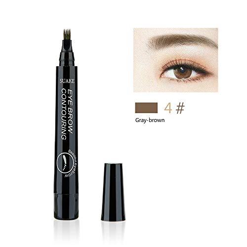 Eyebrow Pen with 4 Colors Long-lasting Waterproof Brow Gel and Tint Dye Cream for Eyes Makeup (Gray-brown)