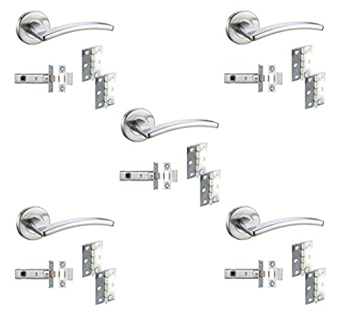 5 Sets Door Handle Pack Internal C/w Latch Hinges Toledo Lever Furniture Satin Chrome