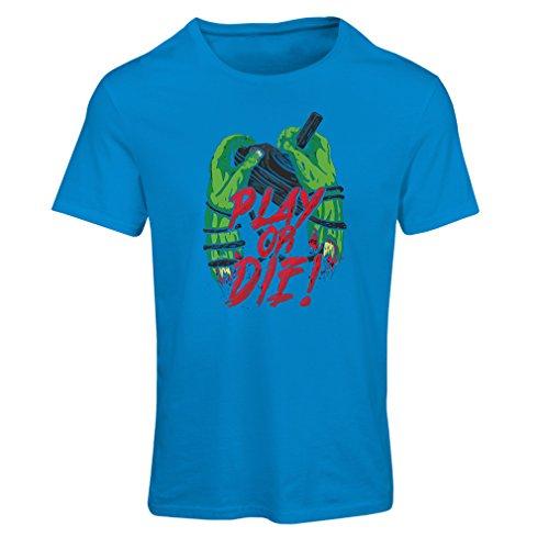 Frauen T-Shirt Spielen oder sterben - nur für Spieler! (X-Large Blau Mehrfarben)