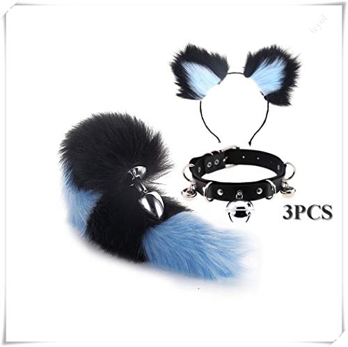 Black Cosplay Kostüm Cat - ieyol Black Blue Sweet Lovely Lolita Cosplay Cat Ears Headband with Plush Tail B- ̈1tt an-?l Pl- ̈ ́g T-?-ys bell Choker Collar Necklace Kostüm Set(M)