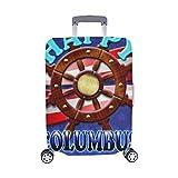 (Nur abdecken) Happy Columbus Day Holzruder 3 D Staubschutz Trolley Protector case Reisegepäck Beschützer Kofferbezug 28,5 X 20,5 Zoll