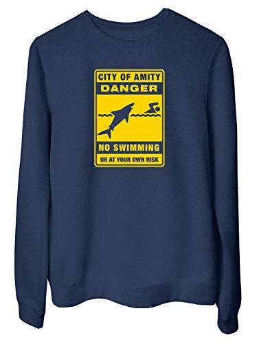 T-Shirtshock Felpa Girocollo Donna Blu Navy FUN3717 Amity baignade interdite panneau Danger