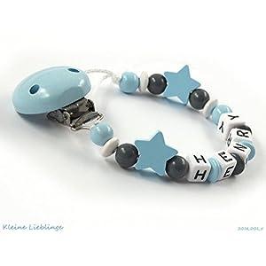 Schnullerkette mit Namen Junge Holz - Sterne - blau grau weiß Buchstaben Taufgeschenk personalisiert Baby Geburt Geschenk