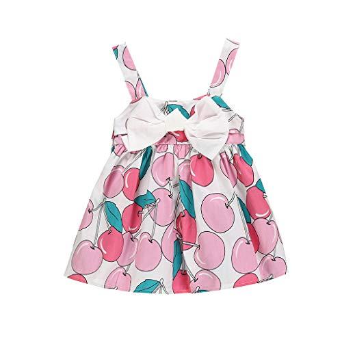 squarex  Sommer Mädchen Früchte Kirsche Gedruckt Rock Kind Bogen Ärmelloses Kleid Party Baby Prinzessin Kleid Mädchen Casual Rock Kleidung