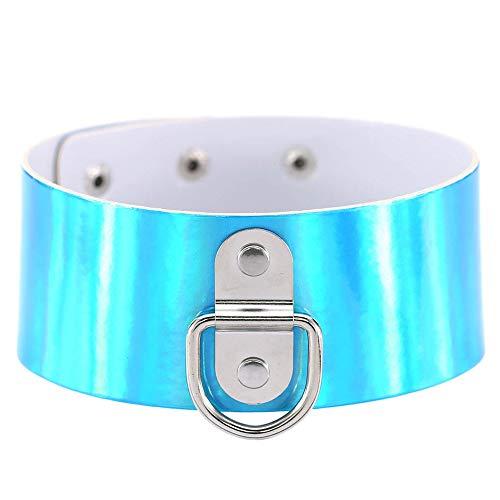 Brillenschnurketten Männer und Frauen Punk Leder Ring Kragen Schlüsselbein Kette Nachtclub Halskette Zubehör Brillenband Kettenhalter (Farbe : Blau)