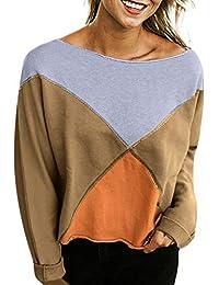 Yvelands Sweatshirts for Women Sudadera con Capucha, Womens Off-Shoulder Blusa Fashion Strapless Patchwork Camiseta.