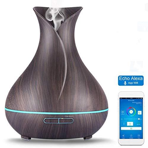 Smart Wifi Aromatherapie Ätherisches Öl Diffusor Kompatibel Mit Alexa Holz Aromatherapie Maschine Bunte LED Und Timer Einstellungen Aroma Luftbefeuchter,Black