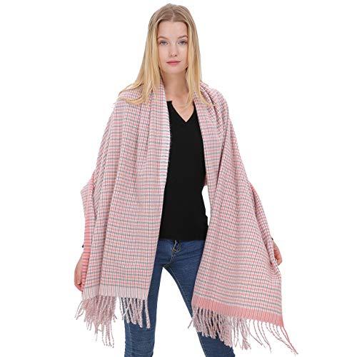 d2bbf7797031 Longwu Dames Idée cadeau Cachemire Pashmina Echarpe Tartan Mode Chaude Wool  Wool Shawl Hiver Étole pour